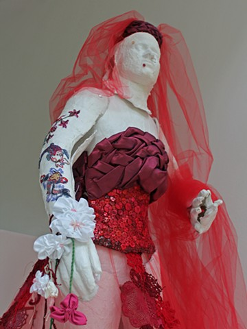 femail/figurative/wedding/sculpture/fiber/San Francisco/buttons/plaster cast/embroidery