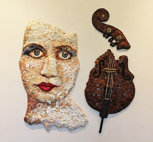 face/buttons/SanFrancisco/woman/bassist/ThelmaCombes/jazz/hand stitching/wall relief
