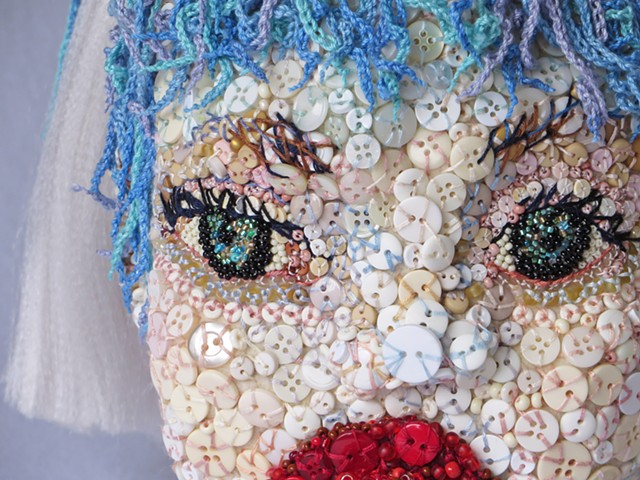 fiber sculpture/buttons/san francisco/teapot/Elsa/child