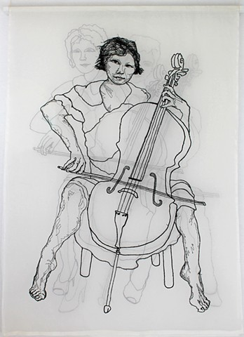 Cellist/SanFrancisco/embroidery/fiber/figurative/female/silk