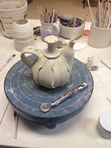 The completed teapot, drying.