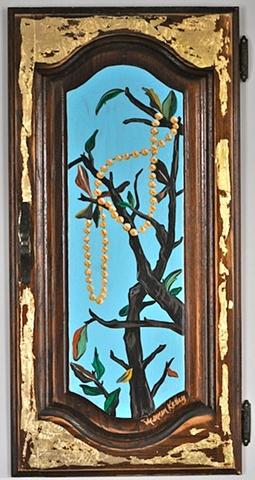 Mardi Gras Beads in a Tree