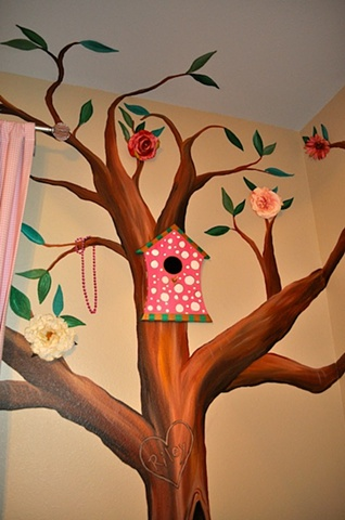 Riley's Room Detail with Custom Wooden Bird House