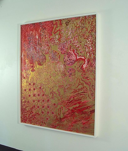 Gold Leaf, collage, fabric, paint, pigment, red, art, abstract, science.