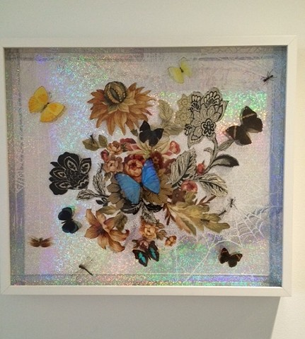 Gold and Silver Leaf, Taxidermy, Butterflies, Insects, Hologram paper, Art