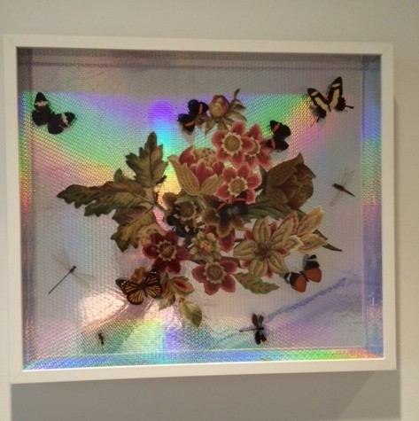 Mixed Media, collage, Silver gold leaf, Taxidermy, butterflies, insects, art.