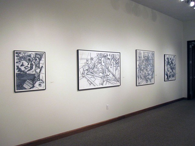 Anderson University, Kathy A. Moore, drawings with conte crayon and gesso