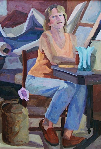 Self Portrait with Blue Vase