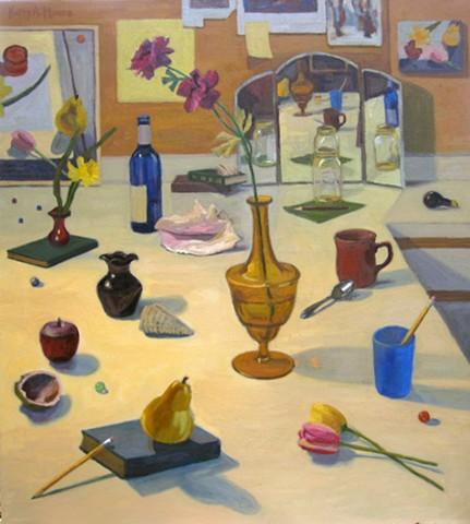 Golden Vase on Countertop Still Life