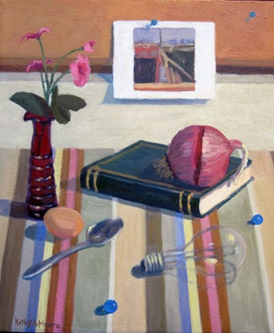 Red Vase, Striped Cloth with Onion