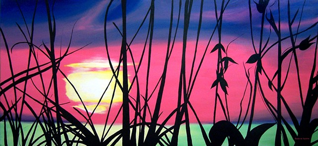 Sunset.  Painting at Palmetto Bay Office Complex, Miami.