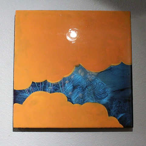 Orange, Clouds, Lines, Different, Resin