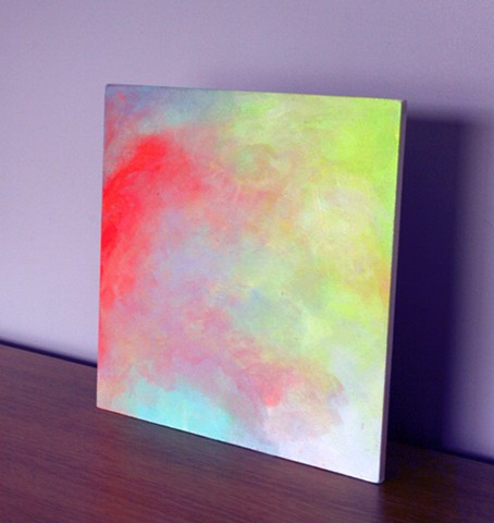 A small fine art original exploring colour hazes and shifts in vision inspired by colours of summer and hues from hazy days.