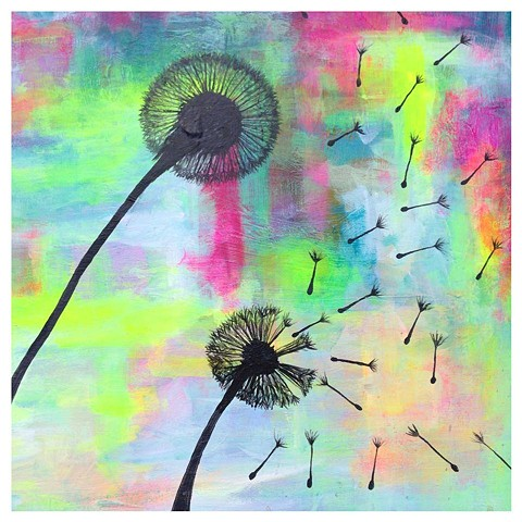 Fine Art Acrylic Painting showing the changes between spring and summer and the flight of the dandelion