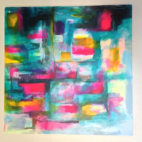 A original Fine Art Painting exploring abstract colour and feelings of waiting just for the right time to do something and getting it just right.