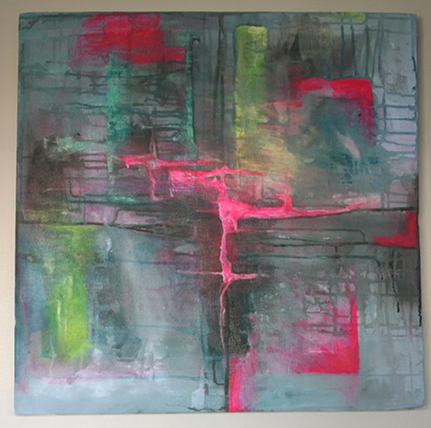 A Fine Art Acrylic painting exploring the good and bad sides of humanity through abstract expression.