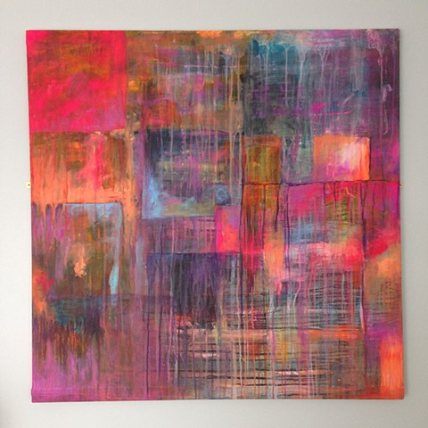 Fine Art painting with bright vivid colours of pink, purple, orange and baby blue exploring abstract expression of life and how dreams can emerge.