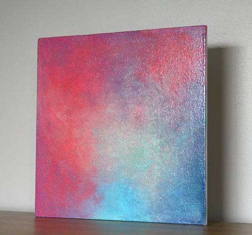 Fine art small painting exploring aura fields around objects with energies.