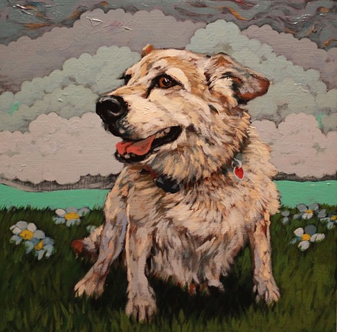 matt lively dog portrait painting