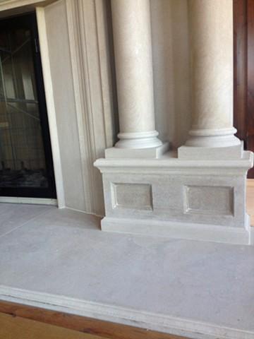 Hand-carved Limestone Fireplace