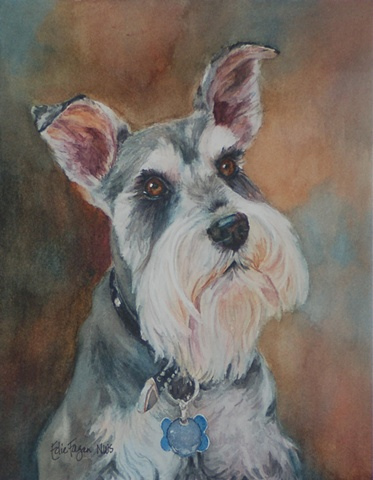 Edie Fagan Adored Dogs watercolor portrait of dog watercolor painting of schnauzer dog