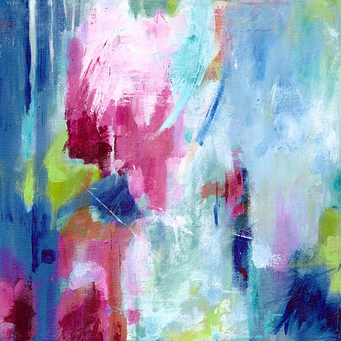 Mixed Media Acrylic Abstract Painting Pair by Edie Fagan blue pink turquoise red green contemporary art