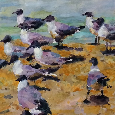 Watercolor painting by Edie Fagan of Sea birds, gulls on beach