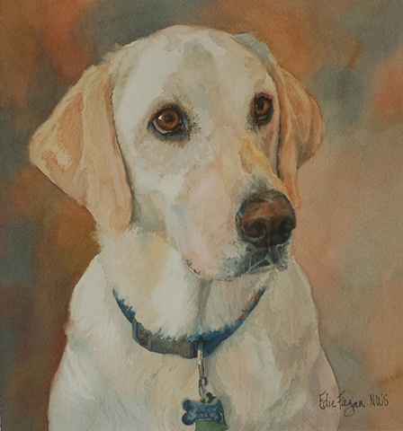 Edie Fagan Adored Dogs watercolor portrait of dog watercolor painting of yellow Labrador retriever dog lab
