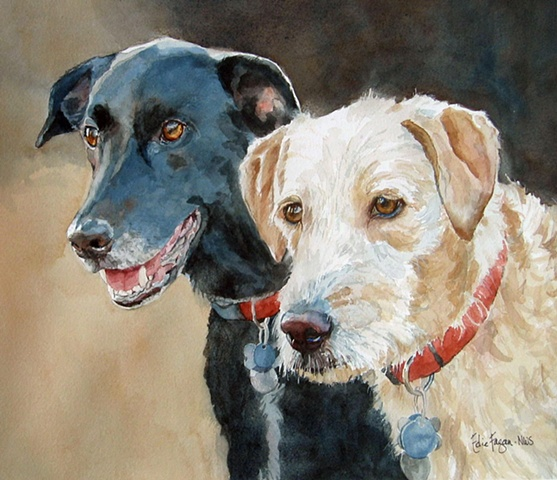 watercolor painting of dogs