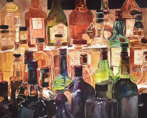 Bar painting, painting of bottles, liquor bottles, watercolor by Edie Fagan