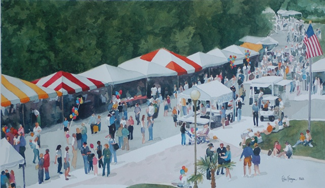 Oviedo Florida Festival watercolor painting by Edie Fagan