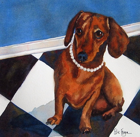Edie Fagan Adored Dogs watercolor painting of dachshund with pearls winter park doggie art festival poster
