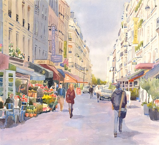 Rue Cler, Paris, France, cityscape, landscape, watercolor painting by Edie Fagan