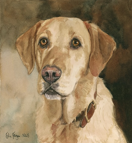 Edie Fagan Adored Dogs watercolor portrait of dog watercolor painting of yellow Labrador retriever
