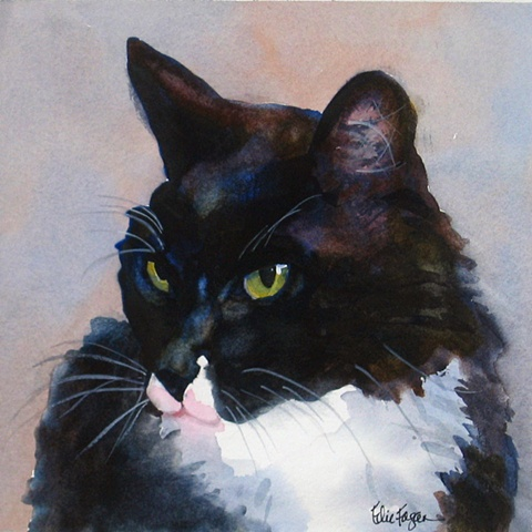 watercolor painting of black and white cat