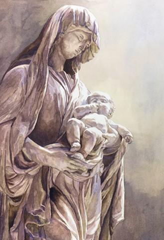 madonna and child watercolor painting by Edie Fagan, Virgin Mary,Jesus, marble statue, Rouen, France