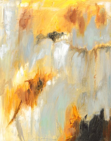 Acrylic Mixed Media Abstract Painting by Edie Fagan yellow brown white gray black contemporary art