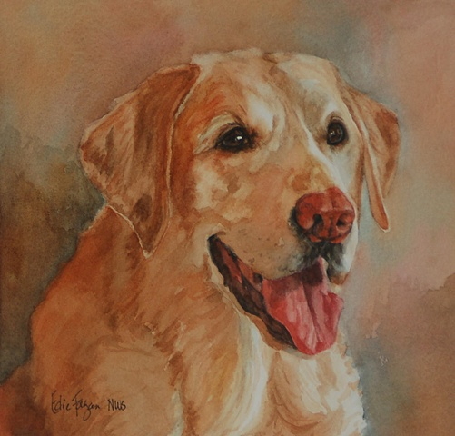 Edie Fagan Adored Dogs watercolor portrait of dog watercolor painting of yellow Labrador retriever dog