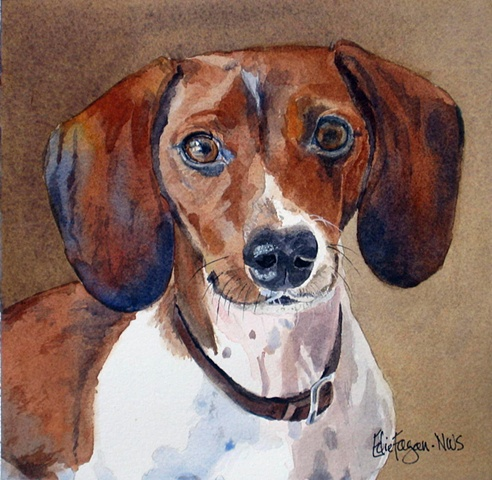 Edie Fagan Adored Dogs watercolor portrait of dog watercolor painting of piebald dachshund