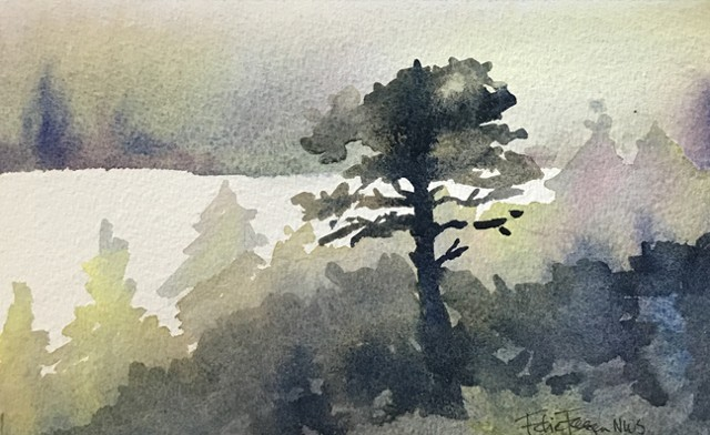 watercolor painting by Edie Fagan california tree landscape forest