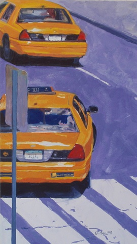 painting of New York Taxis by Edie Fagan