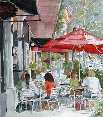 watercolor painting by Edie Fagan of Park Avenue Winter Park Florida cafe umbrellas autumn art festival poster