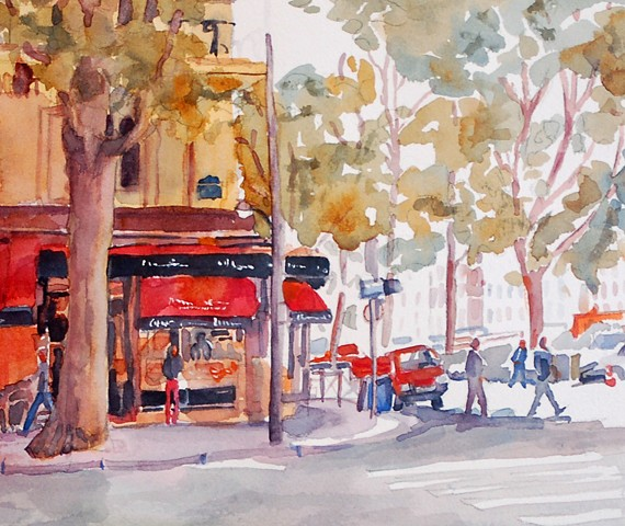 Watercolor painting of Ile de la Cite, Paris, France by Edie Fagan