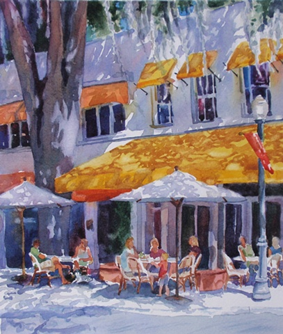 watercolor painting by Edie Fagan of Winter Park Florida Park Ave. Briarpatch restaurant
