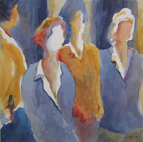 original watercolor painting of four women purple yellow art by Edie Fagan