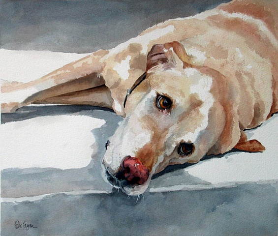 Edie Fagan Adored Dogs watercolor portrait of dog watercolor painting of yellow Labrador retriever lab dog