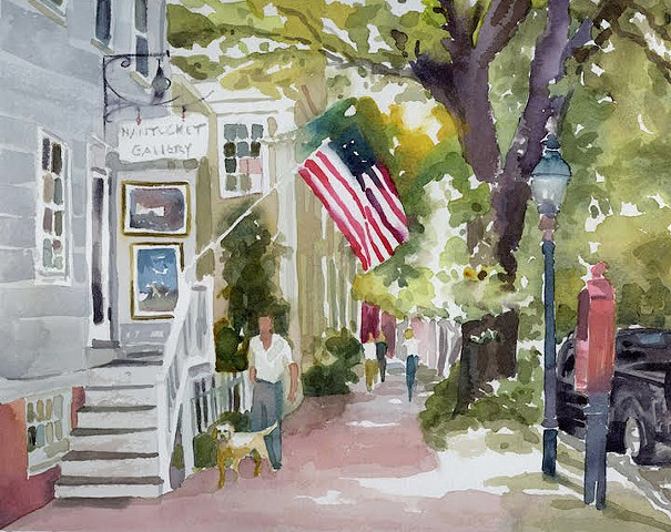 Original watercolor painting nantucket street scene cityscape labrador retriever yellow lab American flag