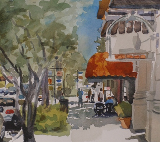 watercolor painting by Edie Fagan of Park Avenue Winter Park Florida cafe people figures Panullo's