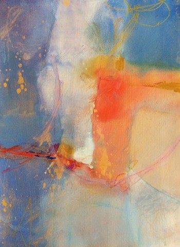 Abstract, blue, orange, heaven, painting by Edie Fagan watercolor, gouache, contemporary art