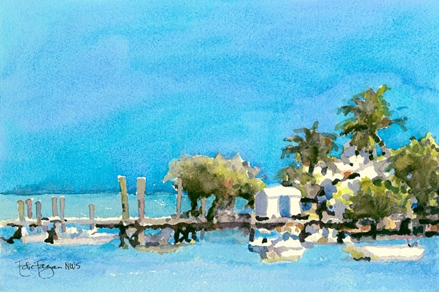 Harbour Island Dock Bahamas Watercolor painting by Edie Fagan